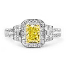1.70 Carat Fancy Intense Yellow Diamond & Side White Diamond Ring ,950 Platinum