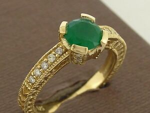 s R196 Genuine 9ct Yellow Gold NATURAL Emerald & Diamond Engagement Ring size K