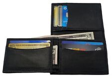 AG Wallets Mens Genuine Leather L Fold Card and ID Unique Shape Bifold Wallet BK