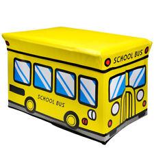 Aufbewahrungsbox mit Deckel Faltbox Kinder Spielzeug Kiste Hocker School Bus
