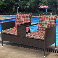 Made USA Pretty Wicker Seat Pad Back Chair Cushion Red Stripe Set Of 2
