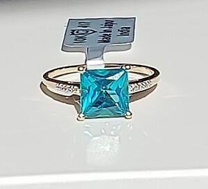 10K Yellow Gold Gorgeous Batalha Topaz & Diamond Ring Size 8/ Anillo de Oro
