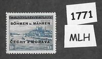 #1771    MLH 1939 Overprint stamp 10.00 KR BaM Protectorate / Third Reich era