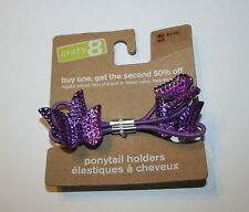 New Crazy 8 Sparkly Purple Butterfly 2 Pony Holder Ponytail Hair Accessory NWT
