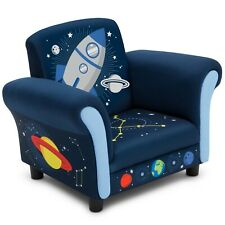 Kids Upholstered Chair Children Space Adventures Design Toddler Furniture Blue