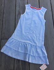 New Mothercare Girls Cotton White Thin Blue Striped Ruffle Sleeveless Dress 6-7