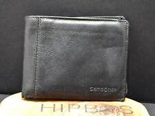 Samsonite Mens Bifold Leather Wallet with ID Window Black