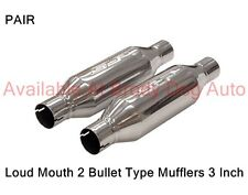 """SLP Bullet Type LOUD MOUTH 2 Mufflers Stainless Steel 3"""" Inlet/Outlet 31067 PAIR"""