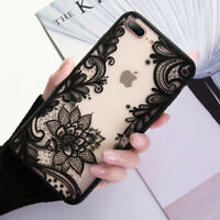 Lace Pattern Slim Hard Clear Case Shockproof Cover for iPhone 5 SE 6s 7 8 Plus X