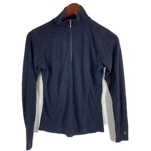 SMARTWOOL S Black 100% Merino Wool 1/4 Zip Knit Base Layer Top Flaws