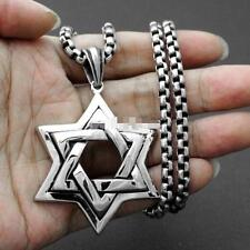 Stainless Steel Box Chain Necklace 24'' Cool Gifts Large Star of David Pendant