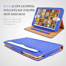 Apple iPad Mini Tan leather Wallet Smart Flip Case Cover Blue & Tan