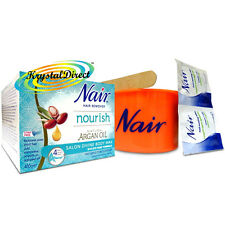 Nair Argan Oil Microwave Salon Divine Peel Off Body Wax Pot Bye Bye Pain 400g