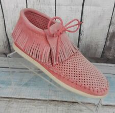 Minnetonka Womens Coral Perforated Leather Ankle Fringe Moccasins Shoes Size 6 M