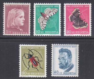 Switzerland 1953 MNH Mi 588-592 Sc B227-B231 Insects & butterflies **