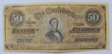 1864 CONFEDERATE MONEY - $50 BILL WITH LINCOLN 3RD SERIES # 72104