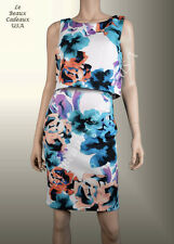 IVANKA TRUMP Women Dress Size 12 WHITE Sleeveless FLORAL Knee OVERLAY Dressy LBC