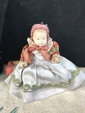 Antique Celluloid Doll In Silky Original Dress