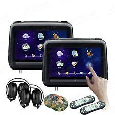 "2x 10.1""Black 1024*600 Car Headrest Pillow Monitor DVD Player USB IR Headphones"