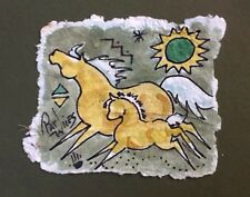 Rock Art Palomino Mare/Foal Ponies Original Watercolor Pat Wiles Horse Horses