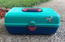 Vintage Caboodles Makeup Train Case Slide Trays Green Blue Pink Plastic 2602
