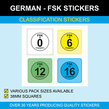 German FSK - Age Rating - Classification Stickers / Labels