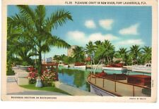 Postcard FL Fort Lauderdale Pleasure Craft In New River Business Section In BKG