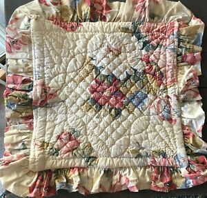 Quilted Rose Floral Ruffles Ticking Stripe Pillow Covers Farmhouse Shabby