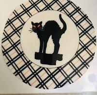 "Set Of 6 Round Black/White/Orange Cat Halloween Vinyl Placemats 15"" Diameter T6"