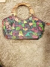 womens handcrafted wood chip purse with wooden handle