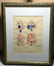 Victor Brauner 1903-1966 Watercolor Painting Signed Abstract Faces Rare