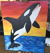 original animal Acrylic painting Whale Breached Out Of The Sea
