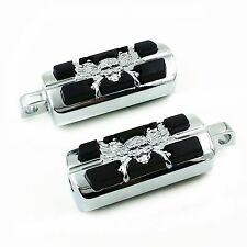 Pair Skull Foot Pegs Rest For Harley-Davidson Motorcycle Touring Male Peg Mount