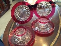 Vtg Ruby Cranberry Flash Kings Crown Tiffin Footed Sherbet Bowls & Plates 6 pcs