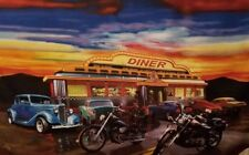 Diner Vintage Cars and Motorcycles Fabric Panel HTF 46x36 Cotton