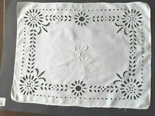 Vintage white linen tray cloth with eyelets and embroidery in centre.