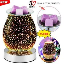 3D Glass Electric Firework Oil Wax Melt Burner Fragrance Aroma Touch Lamp UK