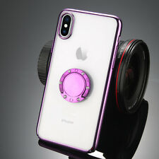 Transparent Magnetic Case Cover With Ring Holder Buckle For iPhone X 8 Plus 7 6S