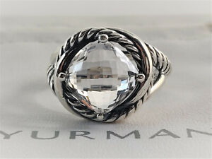 David Yurman Sterling Silver Infinity Ring with 11mm White Topaz, size 9