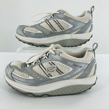 Skechers Shape Ups Shoes 11814 Size 9 Silver White Walking Toning Womens Lace Up