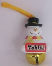 25408 TAHLIA NAME FROSTY SNOWMAN COLOUR BELL CHRISTMAS TREE DECORATION GIFT