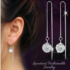 Women's Vintage 925 Sterling Silver Crystal Ball Ear Stud Drop Dangle Earrings