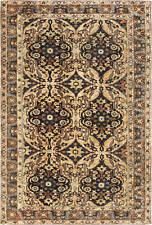Kirman Handwoven Wool Rug in Chocolate Brown and Cream BB6635