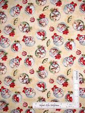 Christmas Ornament Snowman Deer Cotton Fabric Wilmington Woodland Holiday - Yard