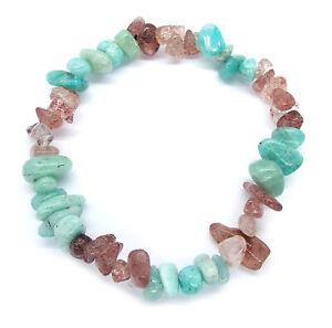 Amazonite Bracelet (Gemstone crystal chips, soothing, healing mind)