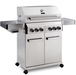 CosmoGrill Barbecue Platinum Gas Grill 4+2 Stainless Steel Outdoor BBQ