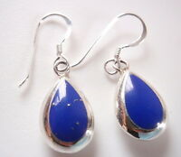 Reversible Lapis and Mother of Pearl Sterling Silver Teardrop Earrings