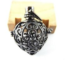 2pcs Gun Black Brass Floral Heart Prayer Box Pendant Locket Charm 51419