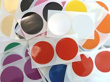 "50 x 50mm (2"") BLACK Round Plastic Vinyl dot Stickers Colour Code Chart Labels"