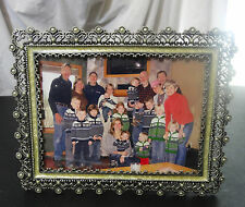 """Metal & Shell faux Pearls picture photo frame with glass 8 1/2"""" x 7"""""""